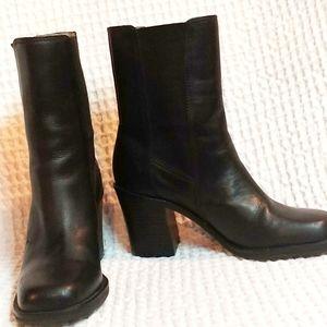 Mia Black Leather Boots